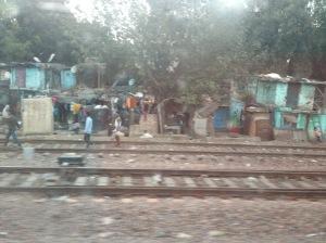 Slums along the railroad from Delhi