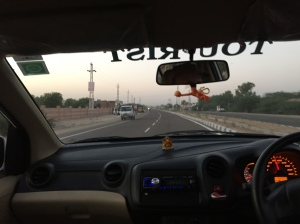 A van on the wrong side of a dual carriageway, Rajasthan