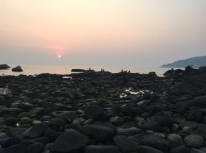 Yoga and contemplation, sunset at Palolem, Goa