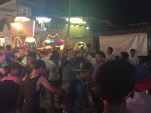 Dancers going wild at a street festival in Palolem, Goa