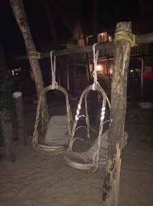 Hanging chairs at the Cozy Nook resort in Palolem, Goa