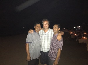 Robin with two waiters from Brandon's resort at Palolem beach