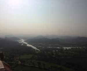 A view of the river Tungabhadra from the top of Anjaneya Hill, Hampi, Karnataka