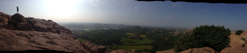 Robin takes in the view from Anjaneya Hill, Hampi, Karnataka