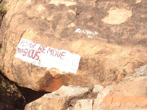 An incorrectly translated sign painted on a Rock