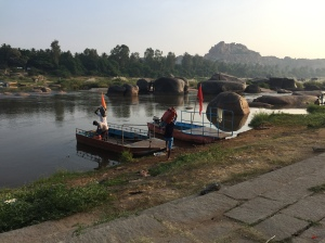 Two river ferries at Hampi, Karnataka