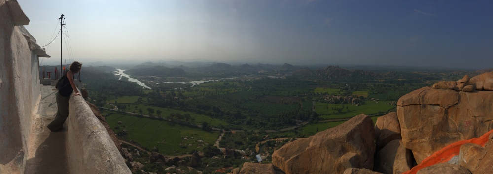 Catherine enjoys the view at Anjaneya Hill, Hampi