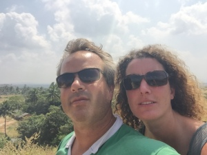 Robin and Catherine at the Tungabhadra reservoir, Hampi, Karnataka