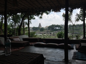 The main Virupaksha temple as seen from the Laughing Buddha