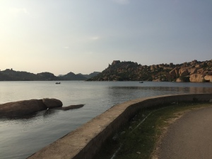 Traditional Coracle boats traverse the beautiful Tungabhadra reservoir