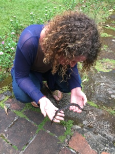 catherine holding a 25cm shied tailed snake.