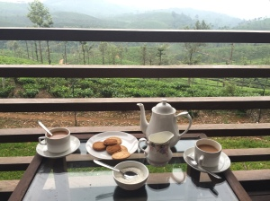 tea on the veranda overlooking the hills of Stanmore tea plantation in Valparai, Tamil Nadu