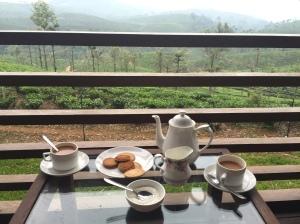 tea on the veranda overlooking the hills of Stanmore tea plantation in Valparai, Tamil Nadu