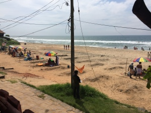 Hindu families and priests bless their departed loved ones at Varkala