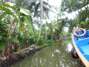 Boat travelling through the narrow canals of Alappuzha Chambakulam