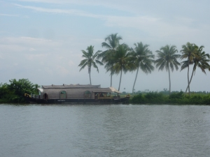 A Kettuvallam rice barge on the Kerala backwaters