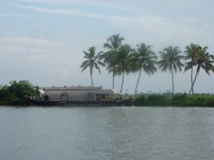 A Kettuvallam rice barge on the Kerala backwaters